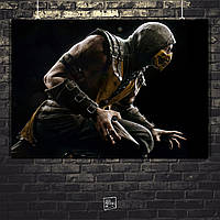 Постер Scorpion, Скорпион, Мортал Комбат, Mortal Kombat. Размер 60x42см (A2). Глянцевая бумага