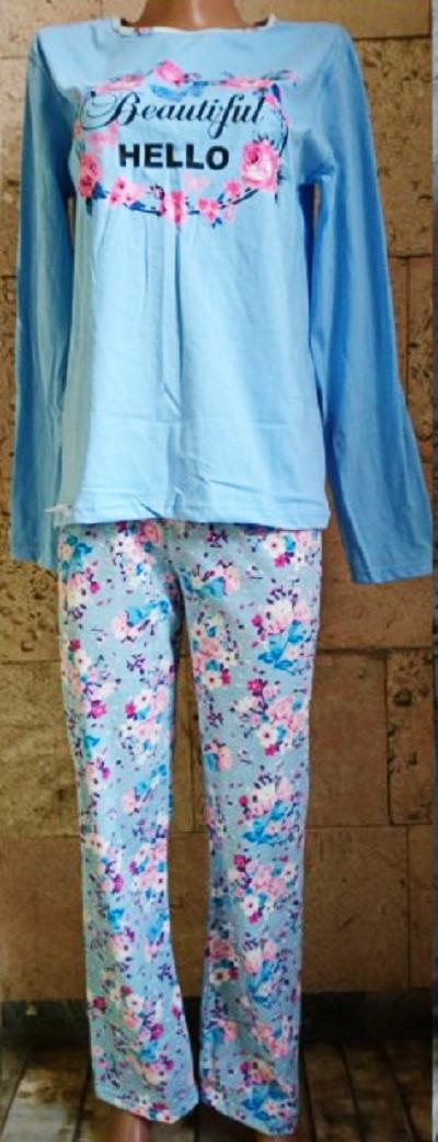 Пижама со штанами из хлопкового трикотажа с цветочным принтом 42-58 р