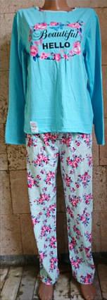 Пижама со штанами из хлопкового трикотажа с цветочным принтом 42-58 р, фото 2