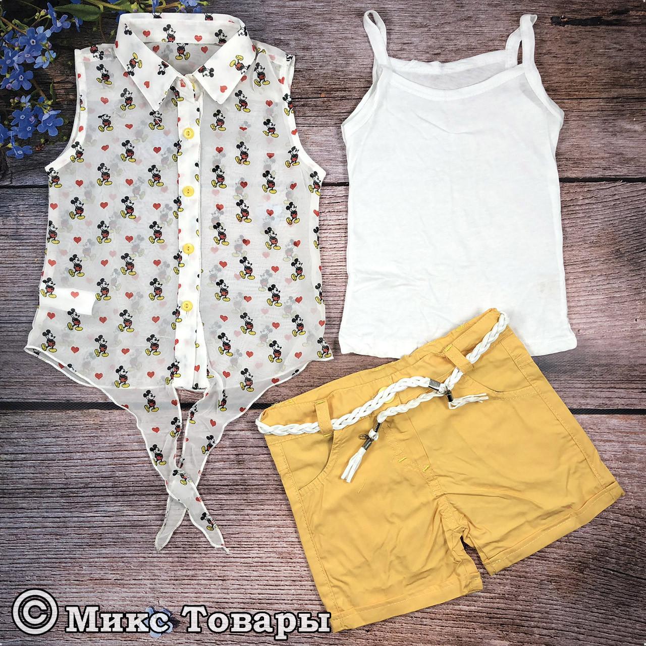 Костюм с шортами тройка для девочек Размеры: 2,3,4,5 лет (8051)