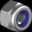 Гайка из нержавеющей стали А2 шестигранная, самостопорящаяся, с полиамидным кольцом кл. пр. 80 DIN 985