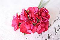 Декоративные цветы вишни 6 шт. диаметр 2,5 см, малинового цвета