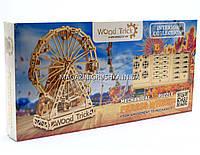 Бесплатная доставка. Деревянный конструктор Wood Trick Механическое Колесо обозрения S3. 3d пазл, фото 1