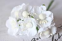 Декоративные цветы вишни 6 шт. диаметр 2,5 см, белого цвета, фото 1