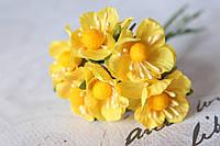 Декоративные цветы вишни 6 шт. диаметр 2,5 см, желтого цвета, фото 1