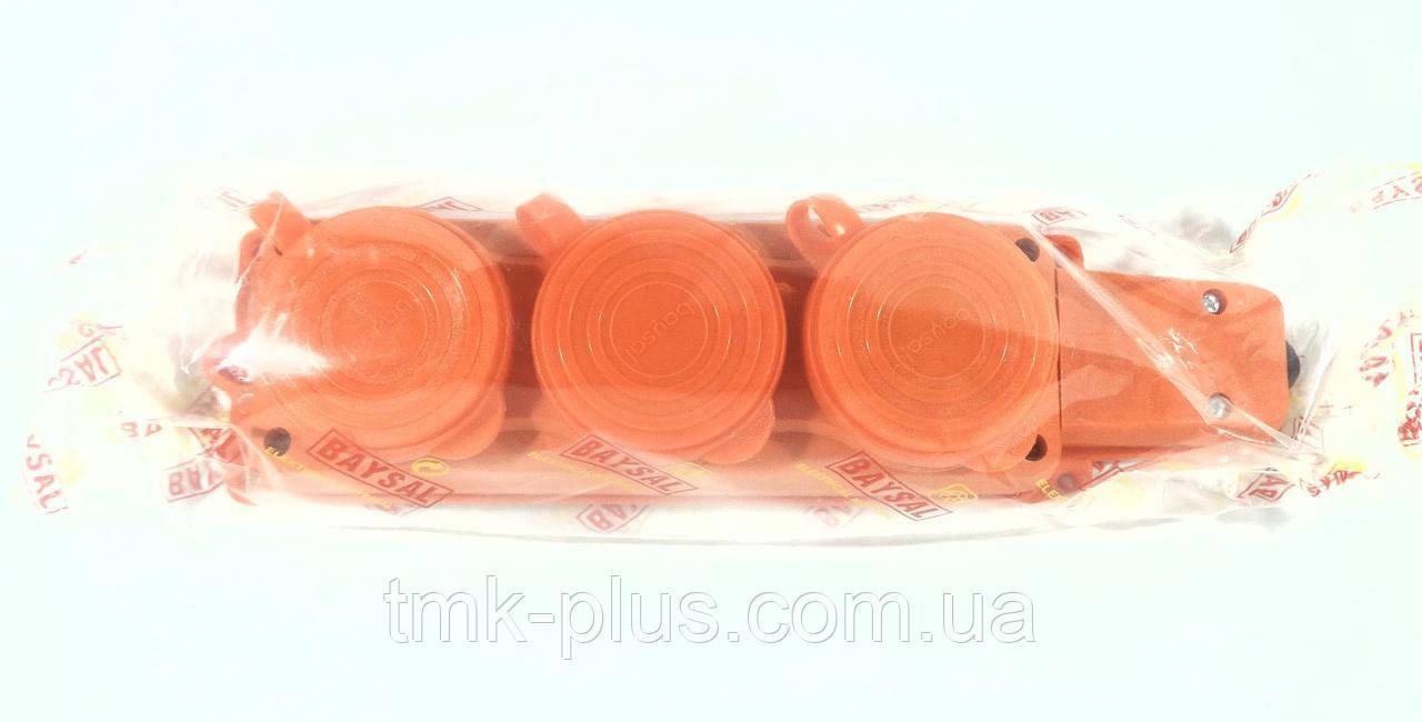 Колодка трійна (помаранчева) 1*16А (каучук) ALFA