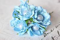 Цветы с жемчуженой  диаметр 4 см голубого цвета, фото 1