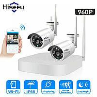 Wi-Fi комплект видеонаблюдения Hiseeu 4CH. 960Р. Внешняя, погодозащитная, инфракрасное Ночное Видение