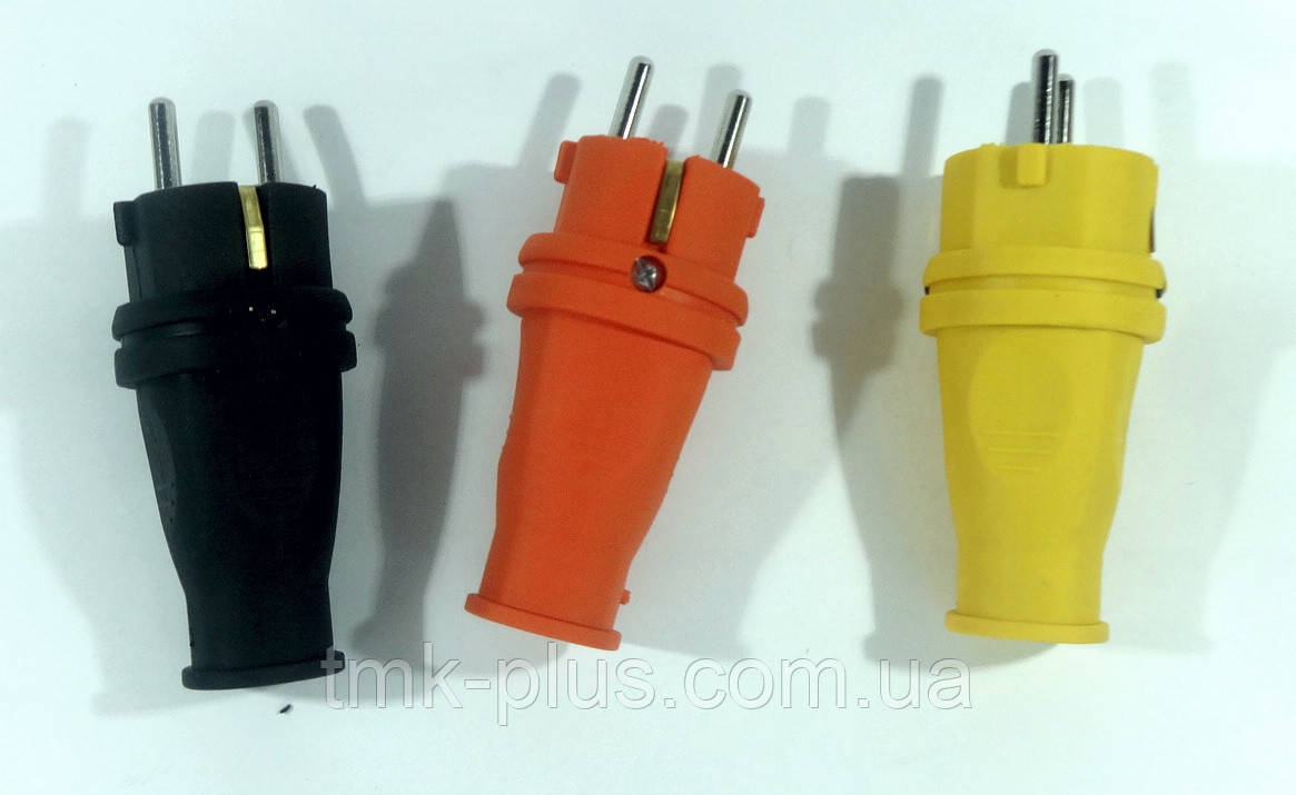 Вилка жовта 1*16А каучук ALFA