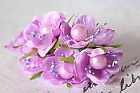 Цветы с жемчуженой  диаметр 4 см сиреневого цвета, фото 1