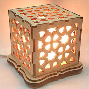 """Соляной светильник """"куб деревянный"""""""