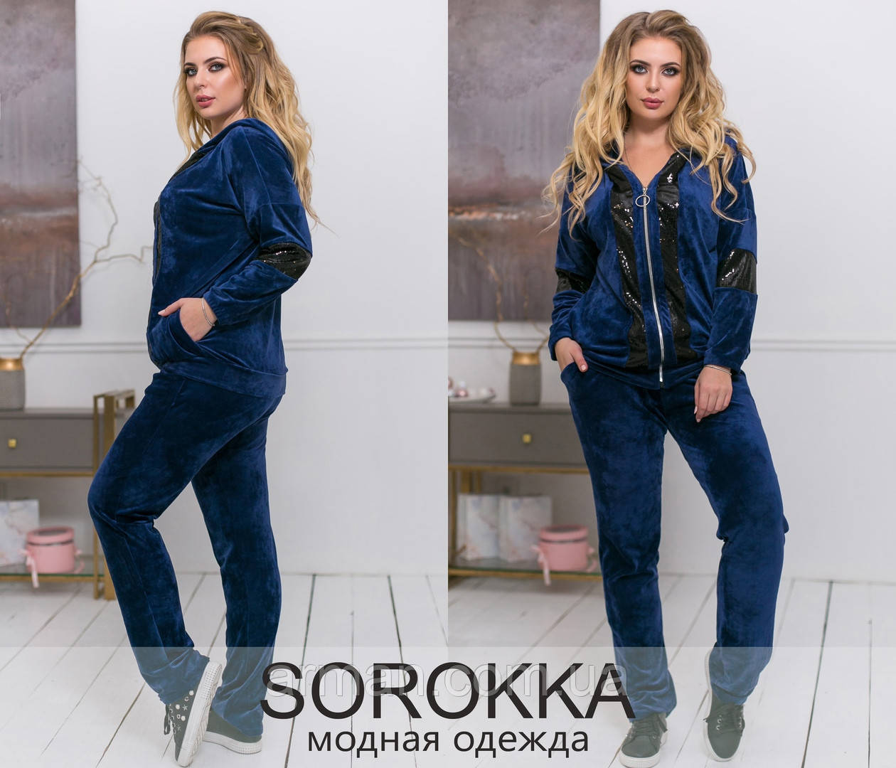 Спортивный женский велюровый костюм с паеткой от ТМ SOROKKA-Размер: 48-50,52-54,56-58