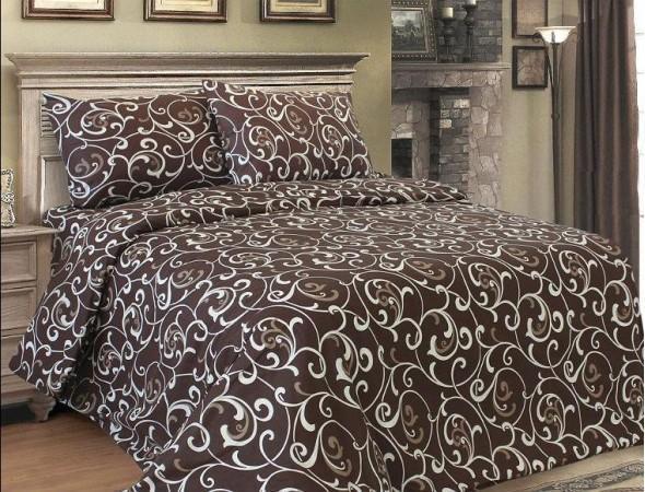 Семейный набор постельного белья «Белые вензеля на коричневом фоне»