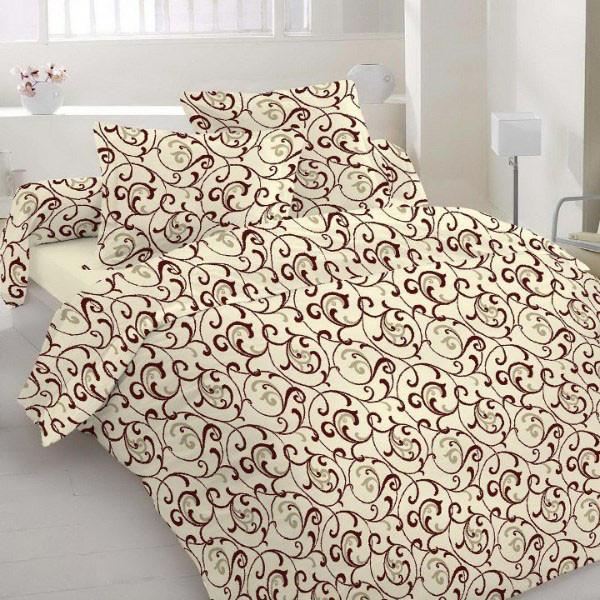 Полуторный комплект постельного белья «Коричневые вензеля на бежевом фоне»