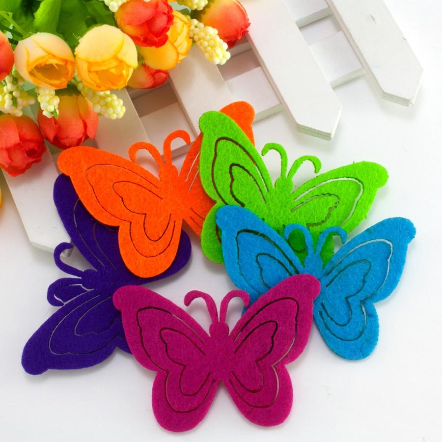 """(5шт) Фетровые фигурки 7х5см """"Бабочки-2"""" (высечка,вырубка из фетра)"""
