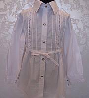 Белая блуза-туника для девочек под пояс