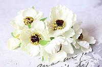 Декоративные цветы дикого мака диаметр 5 см, 6 шт/уп., кремового цвета, фото 1