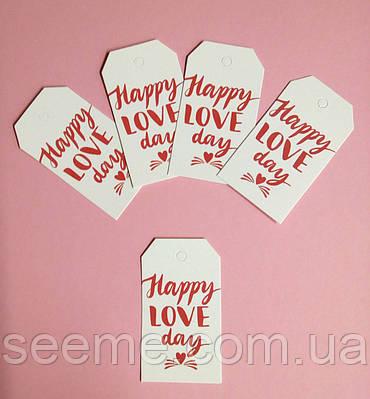 "Тэги с печатью ""Happy Love Day"", 10 шт."