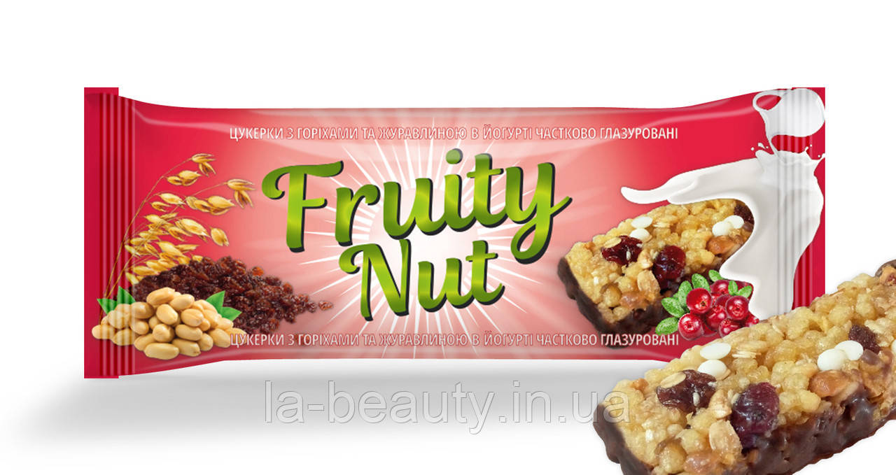 Батончик FruityNut с клюквой и орехами