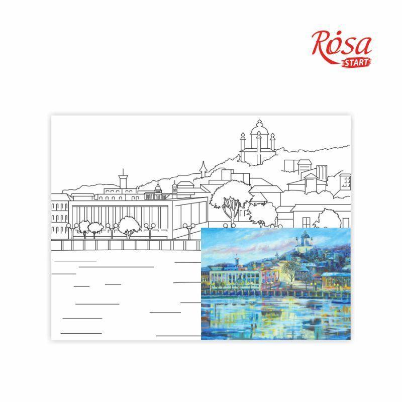 Холст на картоне с контуром Rosa Start 30x40 см акрил хлопок Города Киев (4820149891934)