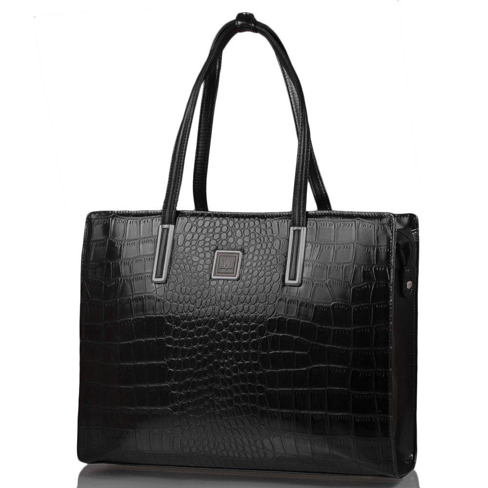 f92612ce2982 Женская кожаная сумка WANLIMA Черная (W12029480009-black) -
