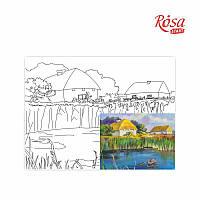 """Полотно на картоні Rosa Start з контуром Пейзаж №18 """"Українське село"""" 30x40 акриловий грунт бавовна"""