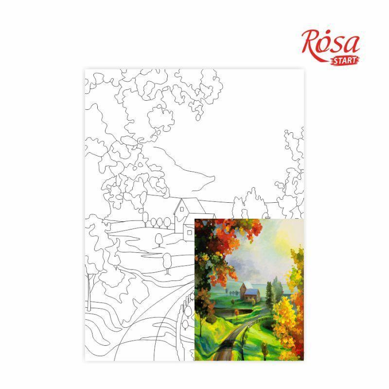 Полотно на картоні Rosa Start з контуром Пейзаж №21 30x40 акриловий грунт бавовна 4823086705128