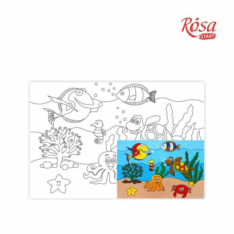 """Полотно на картоні Rosa Start з контуром, Мультфільм №26 """"Морський світ"""" 20x30 акриловий грунт бавовна"""
