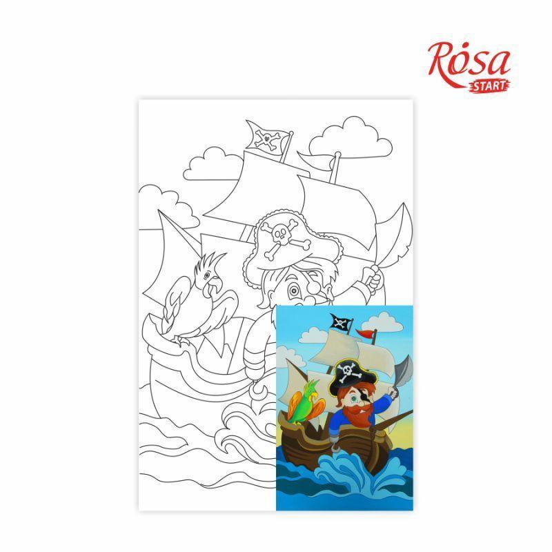 Холст на картоне с контуром Rosa Start 20x30 см акрил хлопок Пират на корабле (4820149892023)