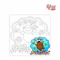 Холст на картоне с контуром Rosa Start 20x20 см акрил хлопок Котики с шариками (4820149892054)