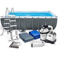 Intex 26356 бассейн 549 х 274 х 132 см, песочный фильтр- насос 4500 л/час, лестница, тент, подстилка