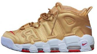 Женские кроссовки Nike Air More Uptempo Metallic Gold White, Найк аир мор