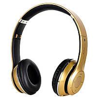 Беспроводные наушники с MP3 плеером и радио Bluetooth S460 золотой