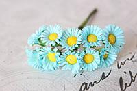 Ромашки декоративные 2  см 10 шт/уп. голубого цвета, фото 1
