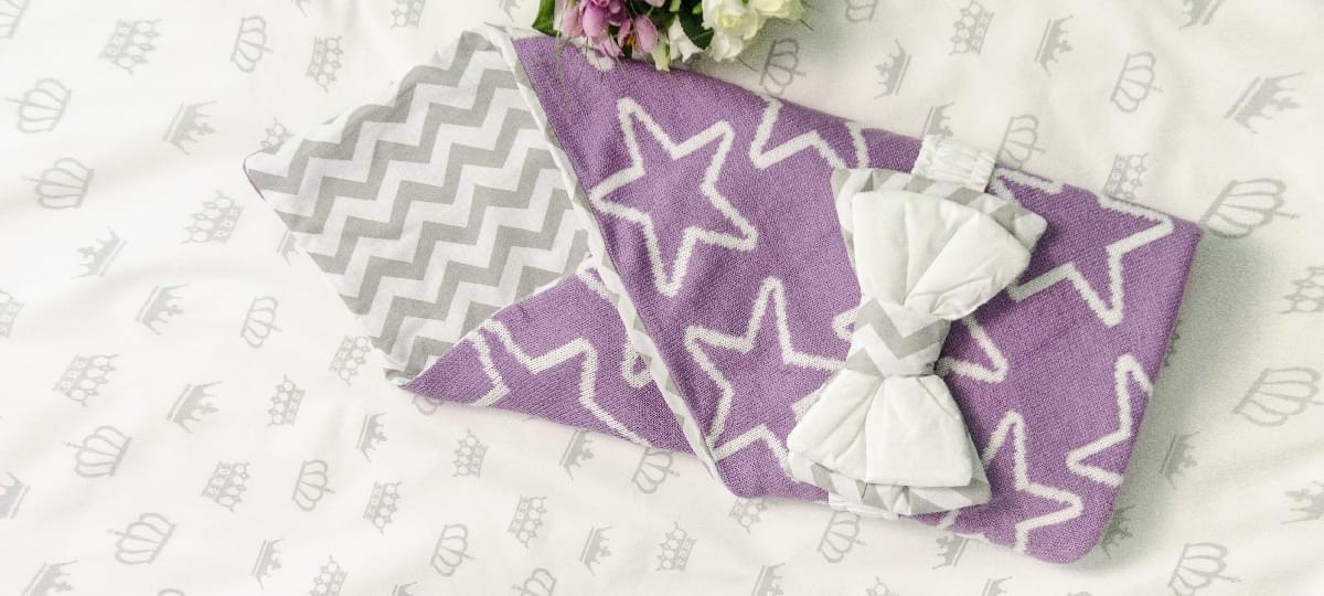 двухсторонний вязаный конверт одеяло для новорожденных 100х80см