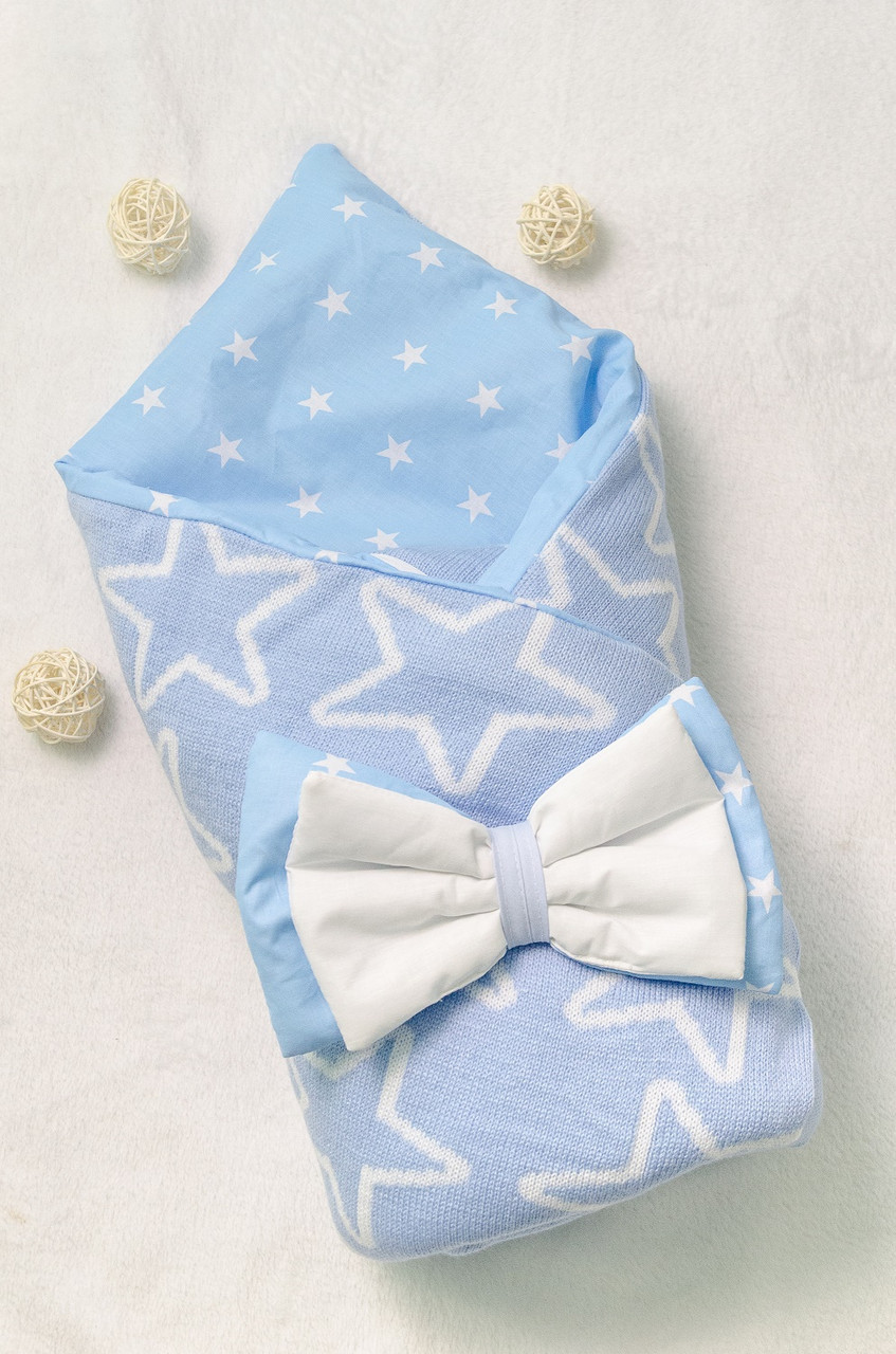 Вязаный конверт-плед весна-осень  для новорожденных 100х80см