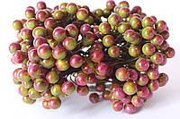 Глянцевые ягоды (калина) 10 шт/уп. зеленого цвета с фиолетовым бочком, фото 1