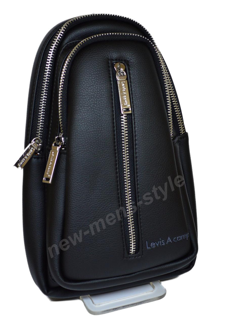 90337e061704 Мужская спортивная кожаная сумка слинг рюкзак бананка через плечо Levis  Acamp, ...