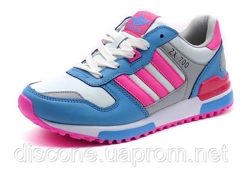 Кроссовки женские Adidas ZX 700 кожаные, белые/ розовые/ голубые