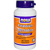Йодид калия (Potassium Iodide), Now Foods, 225 мкг, 180 таблеток