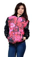 Куртка-бомбер с 3Д принтом Розы, фото 1