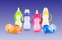 Полипропиленовая бутылочка, станд. горло,соска-непрол. мультипоток,съемные ручки (ас.4,320ml)  3m+ Nuby (1093)