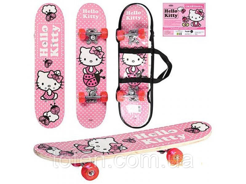 "Деревянный скейт ""Hello Kitty"" с сумкой. Длина 60 см, алюмин подвес, силикон кол, наждач поверх HK 0052"