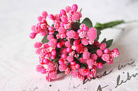 Декоративные веточки облепихи 10-12 шт/уп ярко-розового цвета, фото 1
