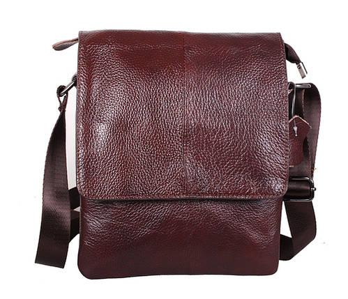 f3c99bdf0a39 Повседневная мужская сумка-мессенджер из натуральной кожи коричневая, фото 2