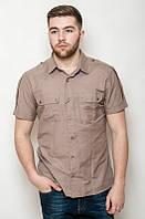 Мужская хлопковая рубашка с коротким рукавом в стиле сафари с накладными карманами и погонами белая, кирпичная, бежевая, черная