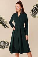 Изумрудное стильное женское платье на запах под пояс. Арт-7713/28, фото 1