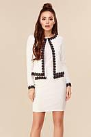 Белоснежный нарядный женский костюм с юбкой с отделкой из кружева. Арт-7716/28, фото 1