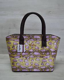 Классическая женская сумка «Две змейки» коричневая, желтая змея (Арт. 11506)   1 шт.