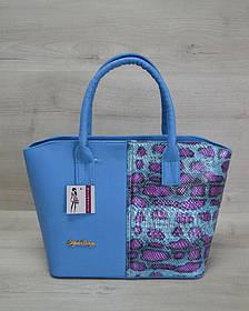 Классическая женская сумка «Две змейки» синий, малиновая змея (Арт. 11507)   1 шт.